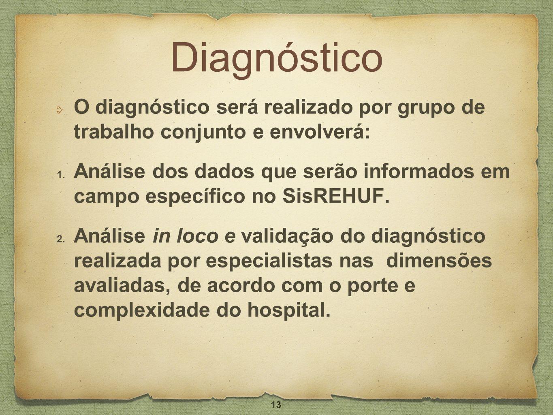 DiagnósticoO diagnóstico será realizado por grupo de trabalho conjunto e envolverá: