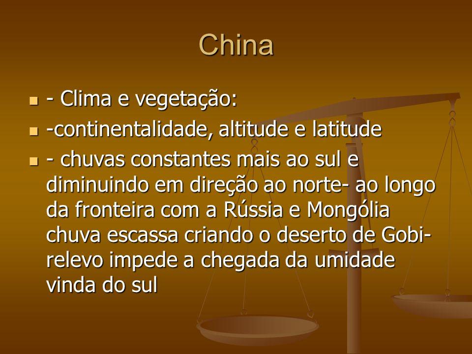 China - Clima e vegetação: -continentalidade, altitude e latitude