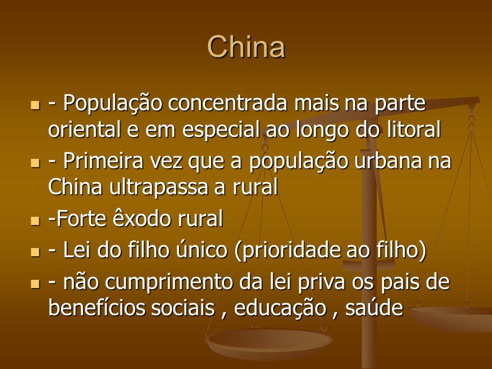 China - População concentrada mais na parte oriental e em especial ao longo do litoral.