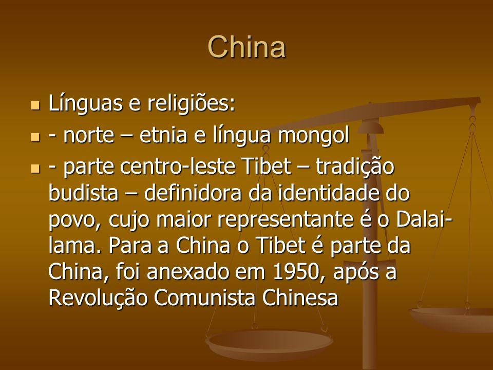 China Línguas e religiões: - norte – etnia e língua mongol