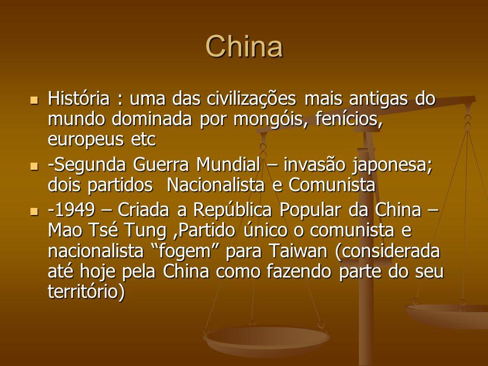 China História : uma das civilizações mais antigas do mundo dominada por mongóis, fenícios, europeus etc.