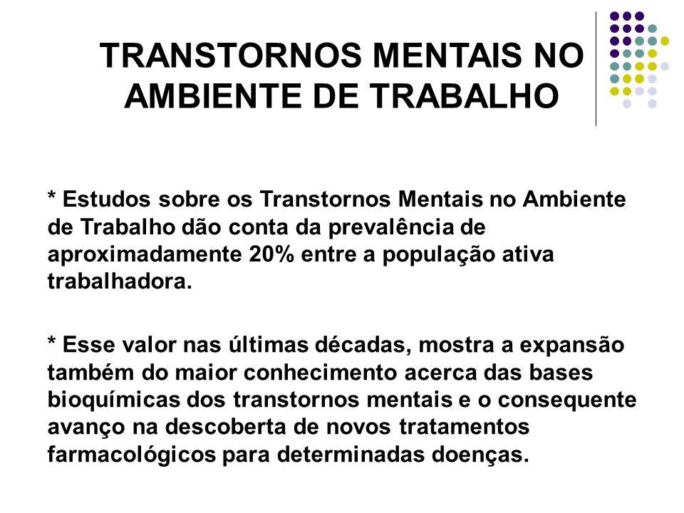 TRANSTORNOS MENTAIS NO AMBIENTE DE TRABALHO