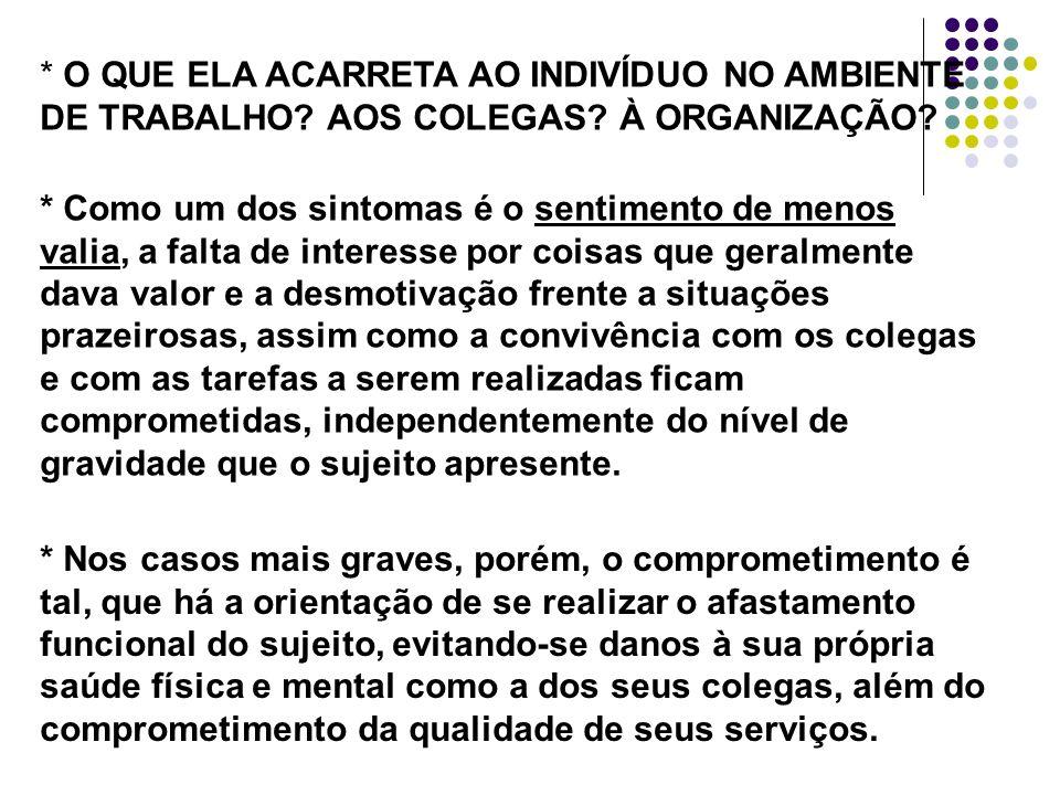 O QUE ELA ACARRETA AO INDIVÍDUO NO AMBIENTE DE TRABALHO. AOS COLEGAS