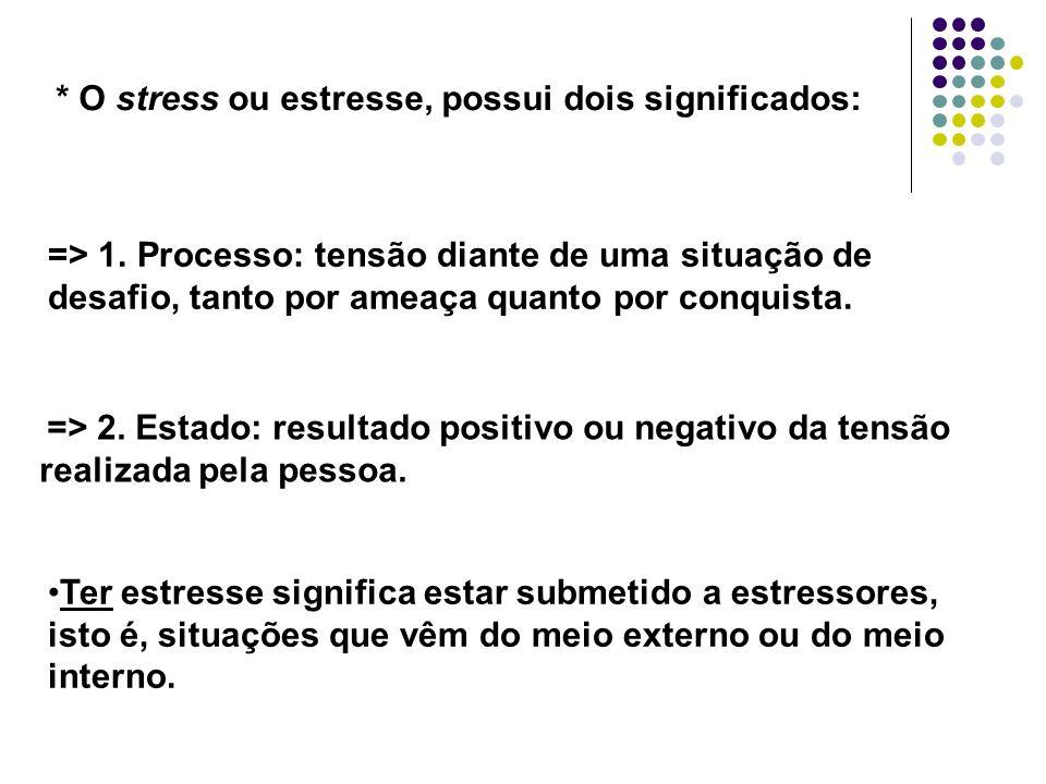 * O stress ou estresse, possui dois significados: