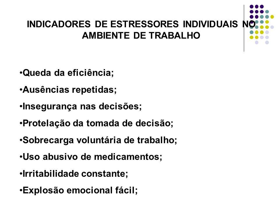 INDICADORES DE ESTRESSORES INDIVIDUAIS NO AMBIENTE DE TRABALHO