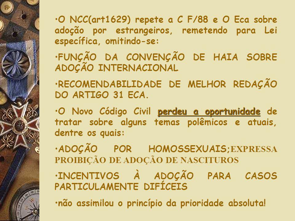 O NCC(art1629) repete a C F/88 e O Eca sobre adoção por estrangeiros, remetendo para Lei específica, omitindo-se: