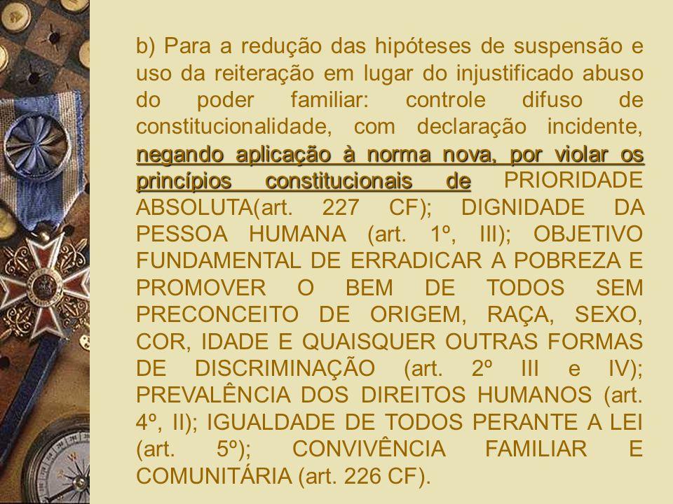 b) Para a redução das hipóteses de suspensão e uso da reiteração em lugar do injustificado abuso do poder familiar: controle difuso de constitucionalidade, com declaração incidente, negando aplicação à norma nova, por violar os princípios constitucionais de PRIORIDADE ABSOLUTA(art.