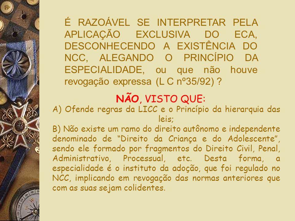 É RAZOÁVEL SE INTERPRETAR PELA APLICAÇÃO EXCLUSIVA DO ECA, DESCONHECENDO A EXISTÊNCIA DO NCC, ALEGANDO O PRINCÍPIO DA ESPECIALIDADE, ou que não houve revogação expressa (L C nº35/92)