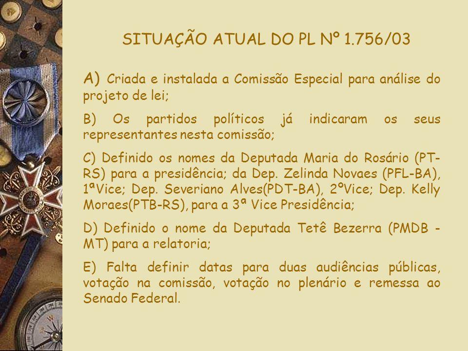 SITUAÇÃO ATUAL DO PL Nº 1.756/03