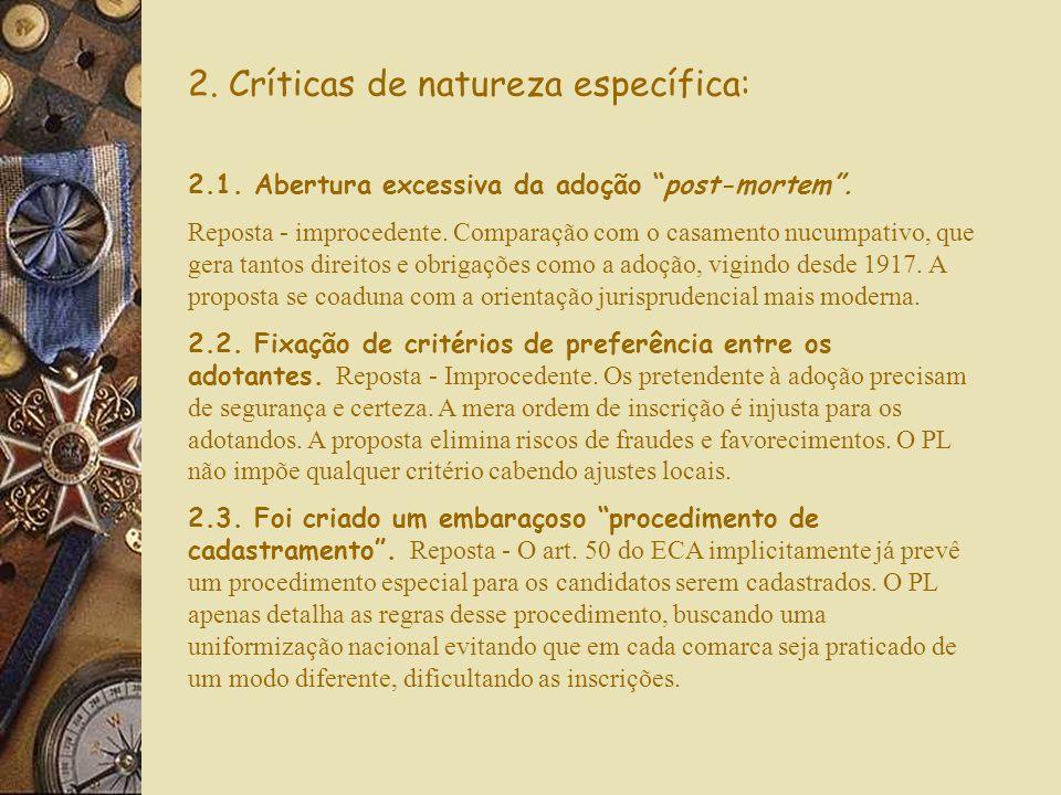 2. Críticas de natureza específica:
