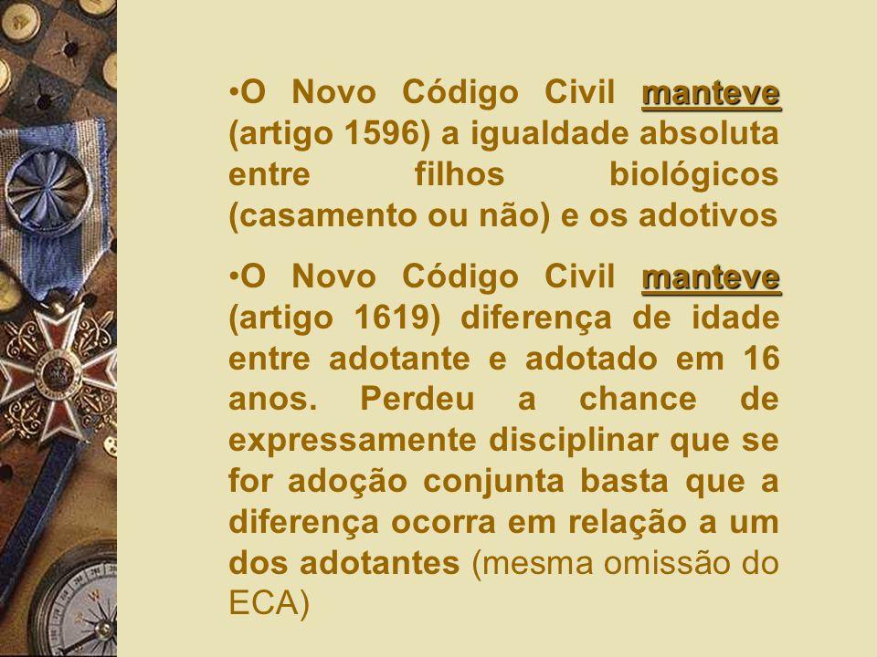 O Novo Código Civil manteve (artigo 1596) a igualdade absoluta entre filhos biológicos (casamento ou não) e os adotivos