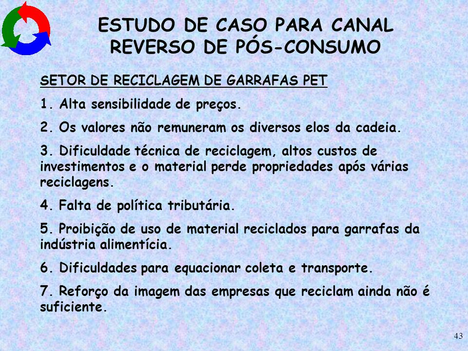ESTUDO DE CASO PARA CANAL REVERSO DE PÓS-CONSUMO