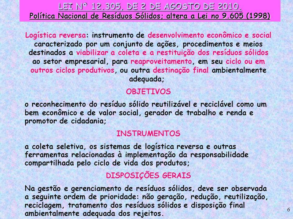 Política Nacional de Resíduos Sólidos; altera a Lei no 9.605 (1998)