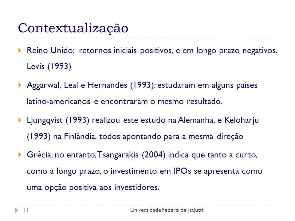Contextualização Reino Unido: retornos iniciais positivos, e em longo prazo negativos. Levis (1993)