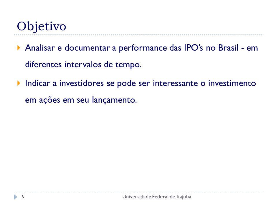 Objetivo Analisar e documentar a performance das IPO's no Brasil - em diferentes intervalos de tempo.