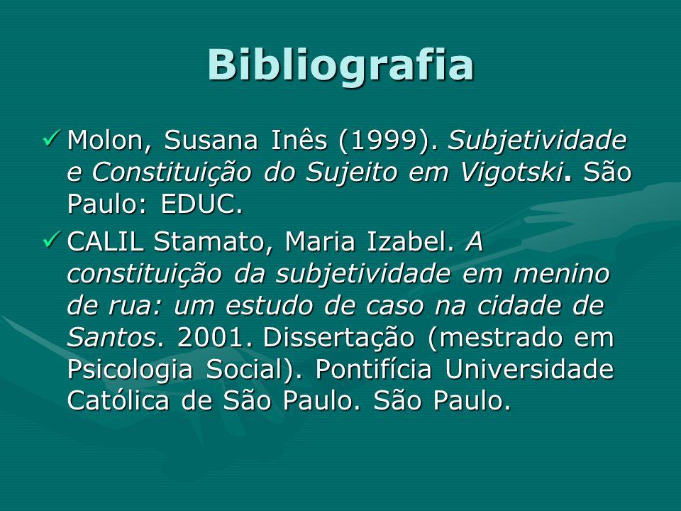 Bibliografia Molon, Susana Inês (1999). Subjetividade e Constituição do Sujeito em Vigotski. São Paulo: EDUC.