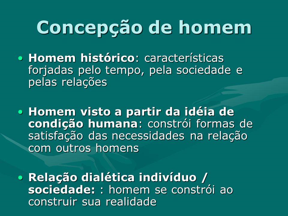 Concepção de homem Homem histórico: características forjadas pelo tempo, pela sociedade e pelas relações.
