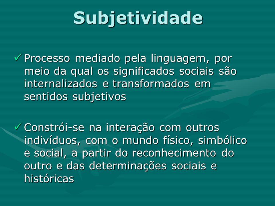 Subjetividade Processo mediado pela linguagem, por meio da qual os significados sociais são internalizados e transformados em sentidos subjetivos.