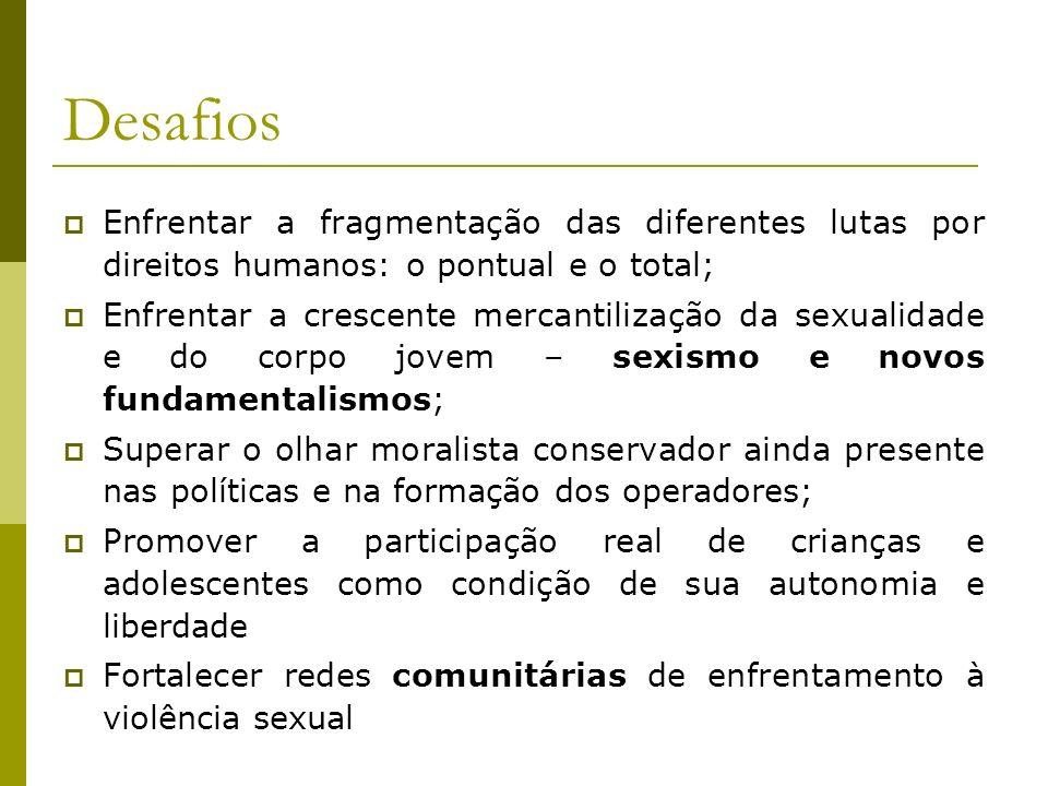 Desafios Enfrentar a fragmentação das diferentes lutas por direitos humanos: o pontual e o total;