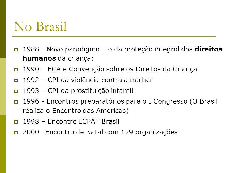 No Brasil 1988 - Novo paradigma – o da proteção integral dos direitos humanos da criança; 1990 – ECA e Convenção sobre os Direitos da Criança.