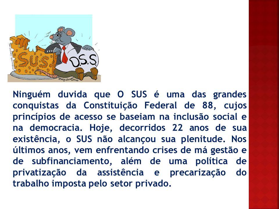 Ninguém duvida que O SUS é uma das grandes conquistas da Constituição Federal de 88, cujos princípios de acesso se baseiam na inclusão social e na democracia.