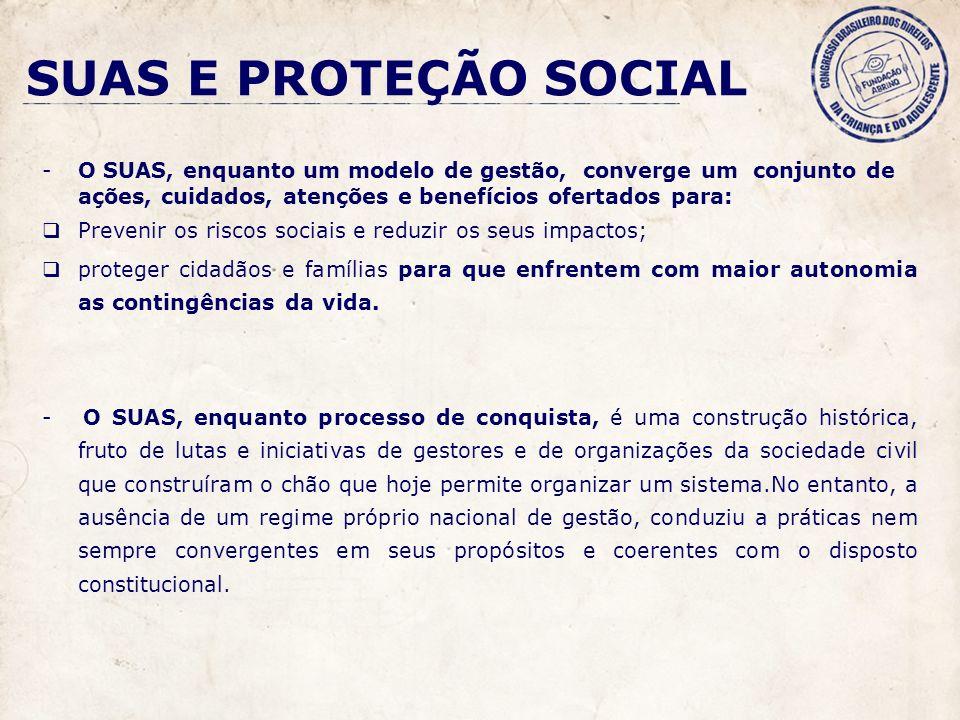 SUAS E PROTEÇÃO SOCIAL O SUAS, enquanto um modelo de gestão, converge um conjunto de ações, cuidados, atenções e benefícios ofertados para: