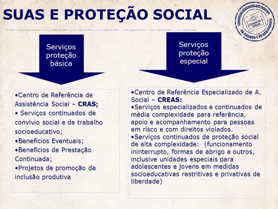 SUAS E PROTEÇÃO SOCIAL Serviços proteção especial