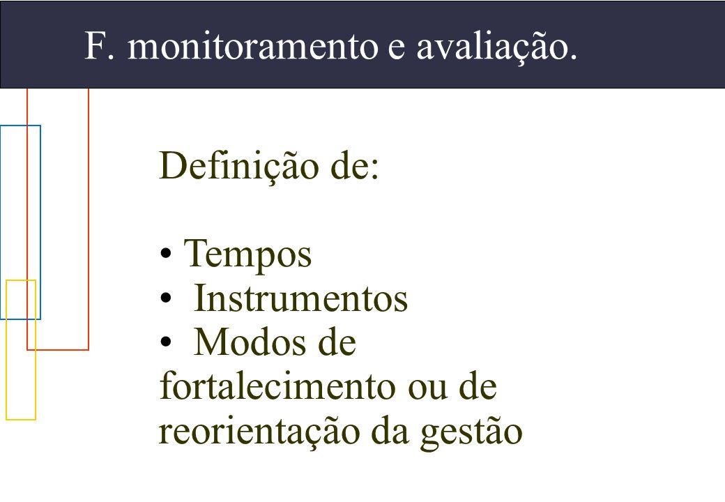 F. monitoramento e avaliação.