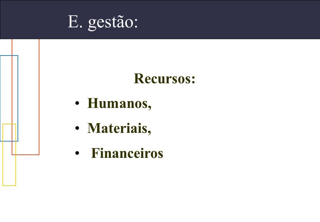 E. gestão: Recursos: Humanos, Materiais, Financeiros