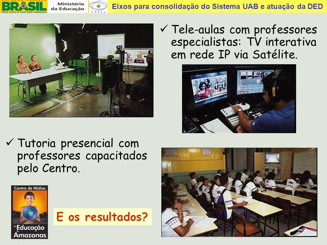 Tele-aulas com professores especialistas: TV interativa em rede IP via Satélite.