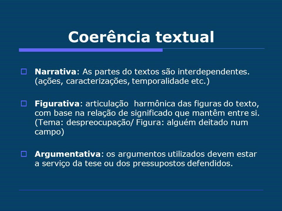 Coerência textualNarrativa: As partes do textos são interdependentes. (ações, caracterizações, temporalidade etc.)
