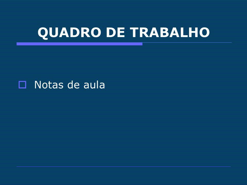 QUADRO DE TRABALHO Notas de aula