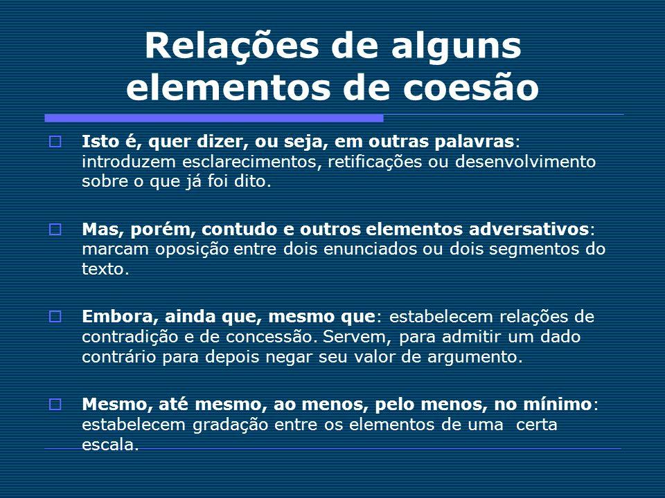 Relações de alguns elementos de coesão
