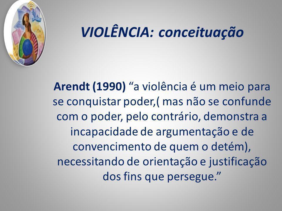 VIOLÊNCIA: conceituação Arendt (1990) a violência é um meio para se conquistar poder,( mas não se confunde com o poder, pelo contrário, demonstra a incapacidade de argumentação e de convencimento de quem o detém), necessitando de orientação e justificação dos fins que persegue.