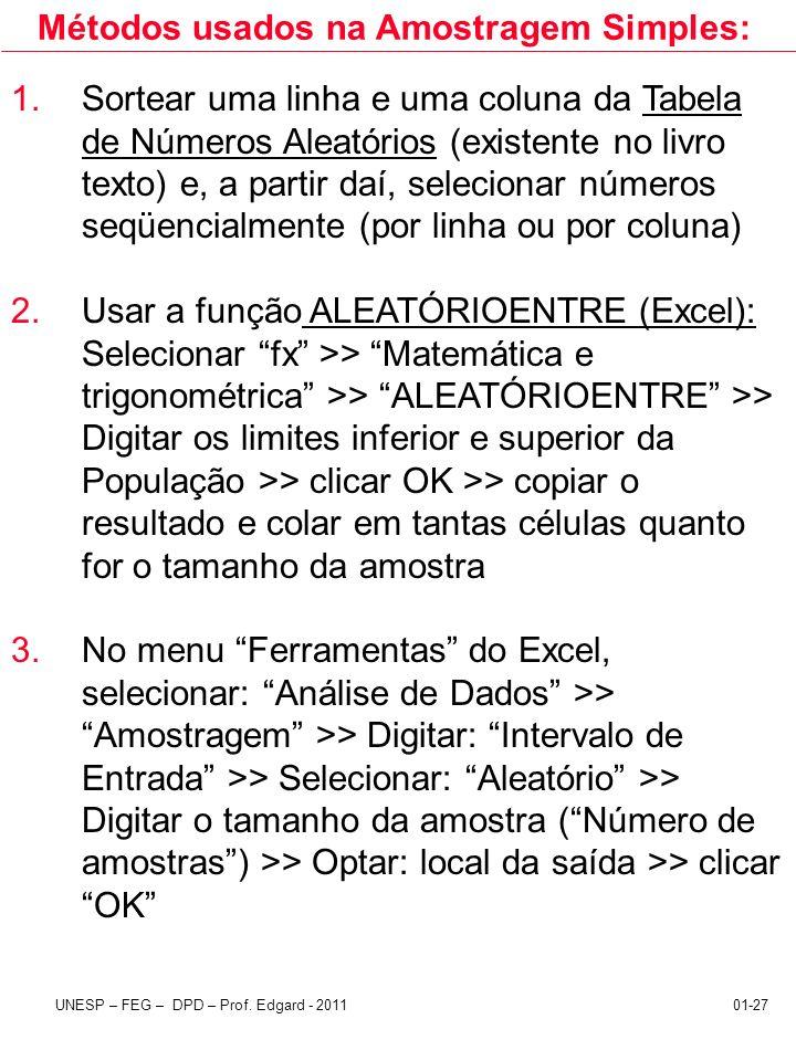 Métodos usados na Amostragem Simples: