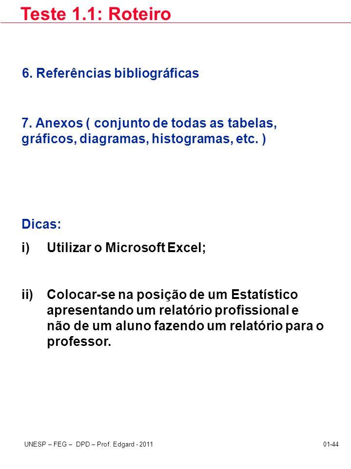 Teste 1.1: Roteiro 6. Referências bibliográficas