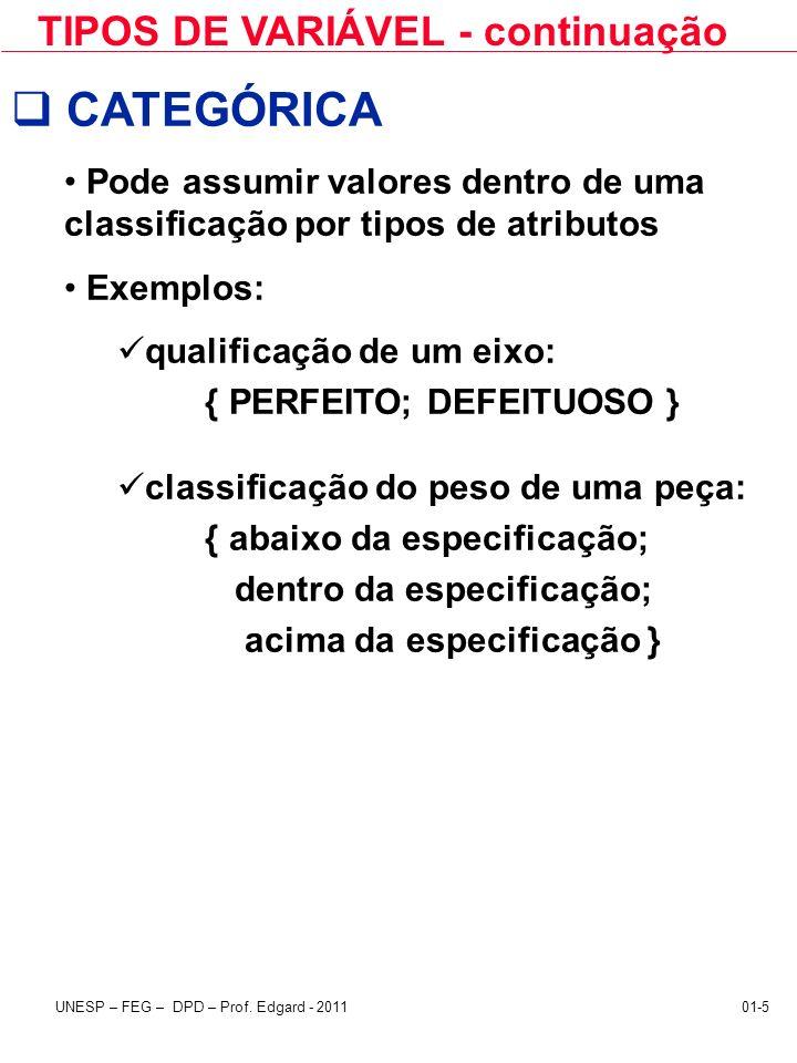 CATEGÓRICA TIPOS DE VARIÁVEL - continuação