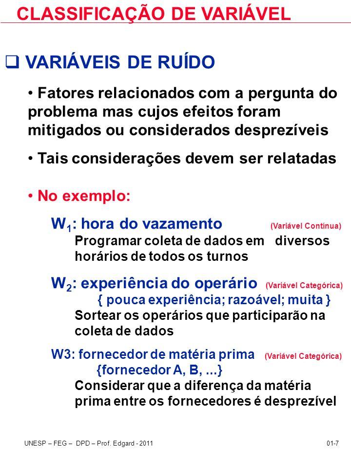 CLASSIFICAÇÃO DE VARIÁVEL