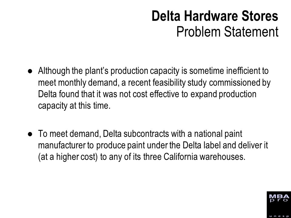 Delta Hardware Stores Problem Statement