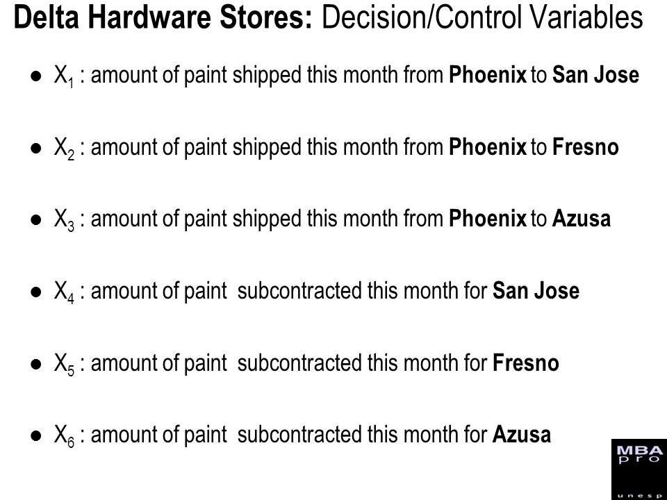 Delta Hardware Stores: Decision/Control Variables