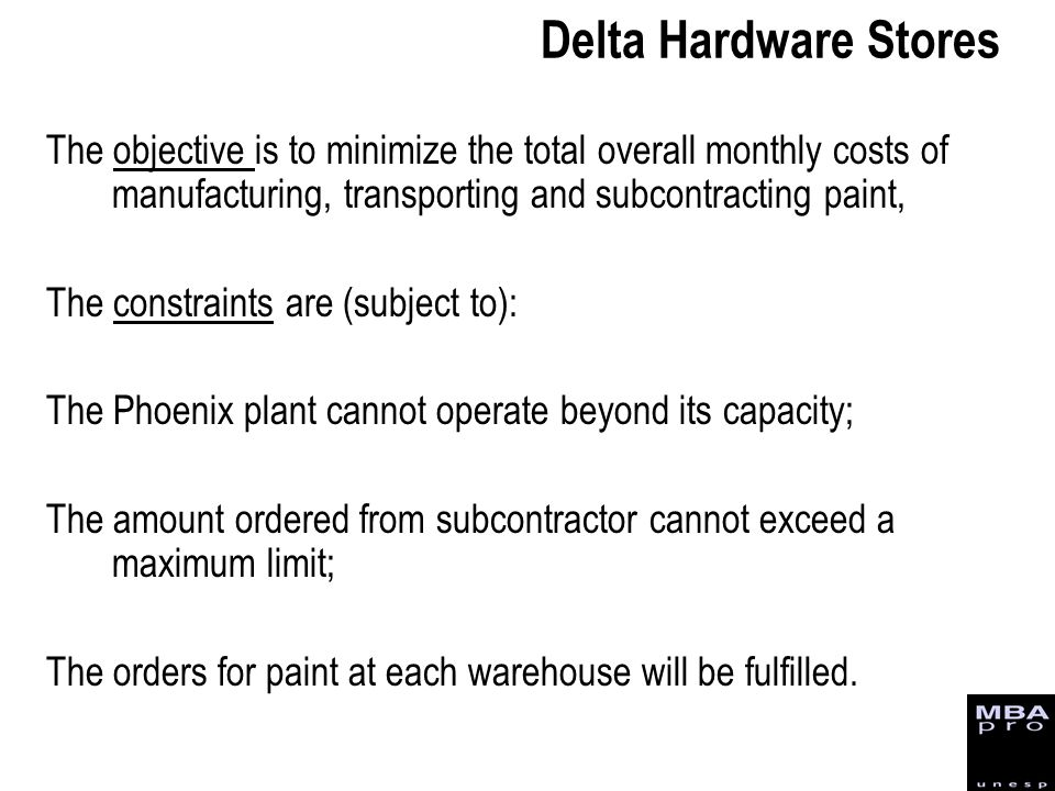 Delta Hardware Stores The objective is to minimize the total overall monthly costs of manufacturing, transporting and subcontracting paint,