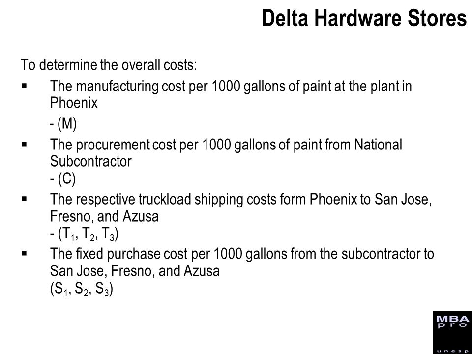 Delta Hardware Stores To determine the overall costs: