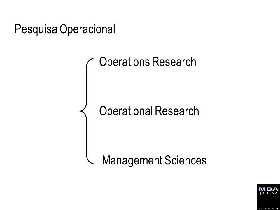 Pesquisa Operacional Operations Research Operational Research Management Sciences