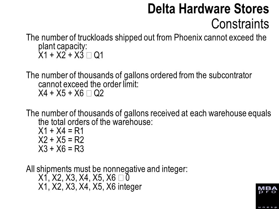 Delta Hardware Stores Constraints