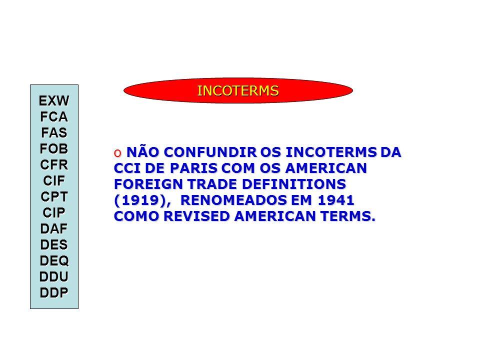INCOTERMS EXW. FCA. FAS. FOB. CFR. CIF. CPT. CIP. DAF. DES. DEQ. DDU. DDP.