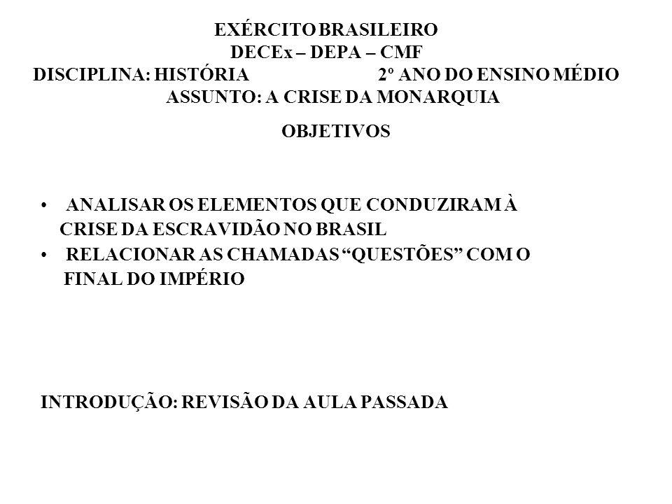 EXÉRCITO BRASILEIRO DECEx – DEPA – CMF DISCIPLINA: HISTÓRIA 2º ANO DO ENSINO MÉDIO ASSUNTO: A CRISE DA MONARQUIA