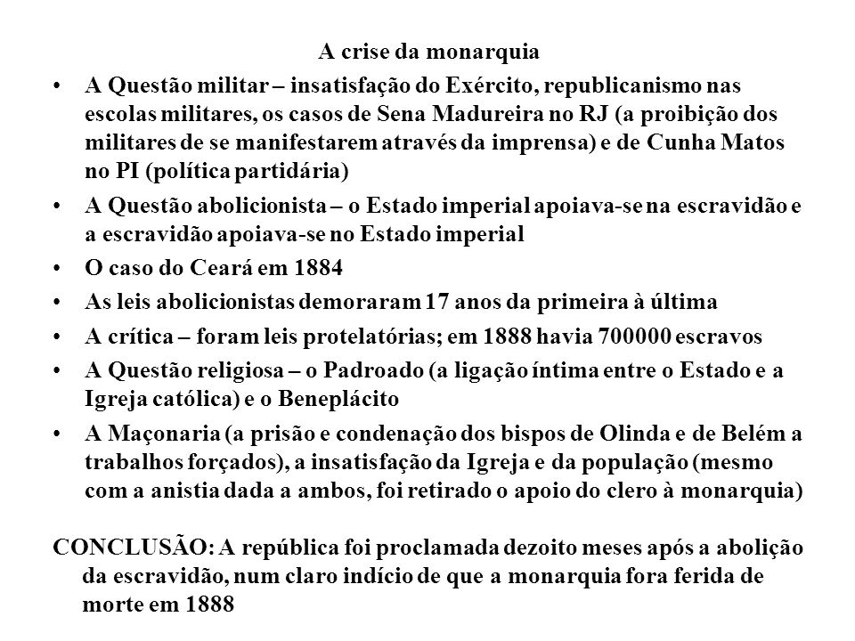 A crise da monarquia