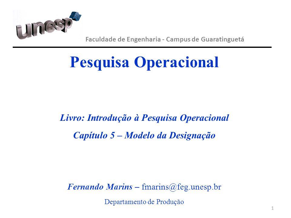 Pesquisa Operacional Livro: Introdução à Pesquisa Operacional