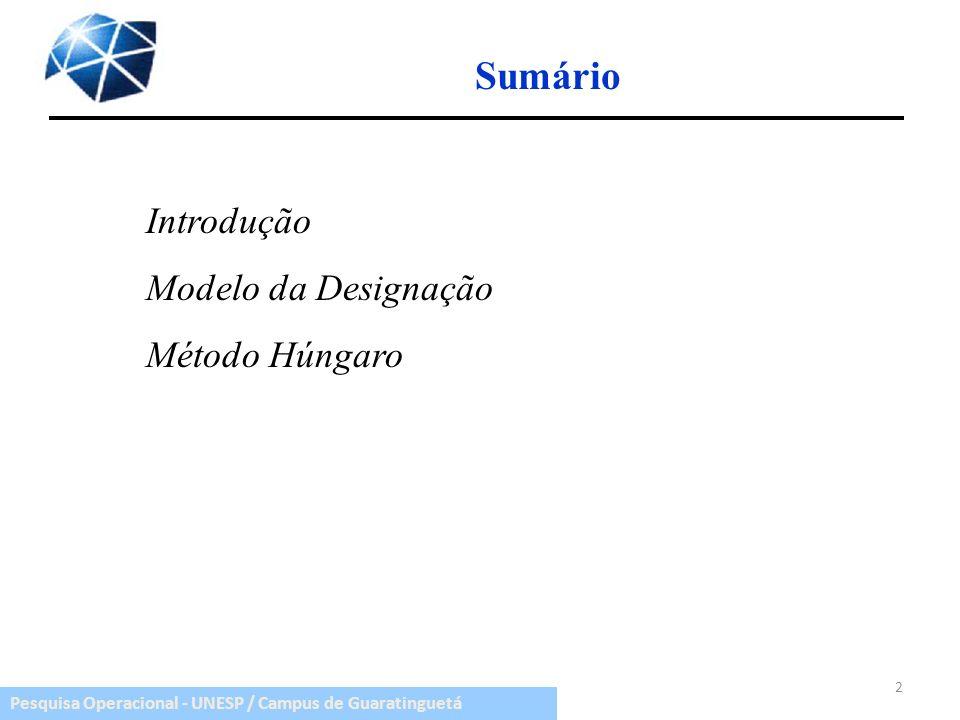 Sumário Introdução Modelo da Designação Método Húngaro
