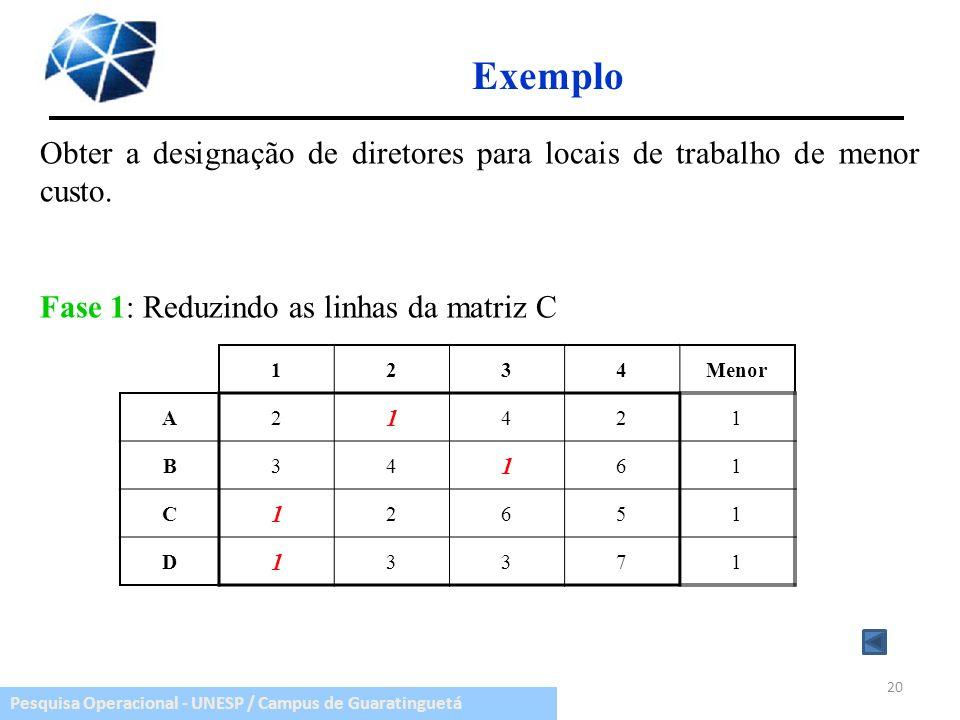 Exemplo Obter a designação de diretores para locais de trabalho de menor custo. Fase 1: Reduzindo as linhas da matriz C.